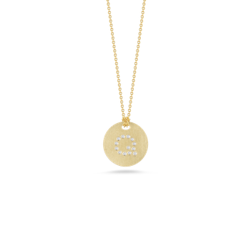 18KT GOLD DISC PENDANT WITH DIAMOND INITIAL Q