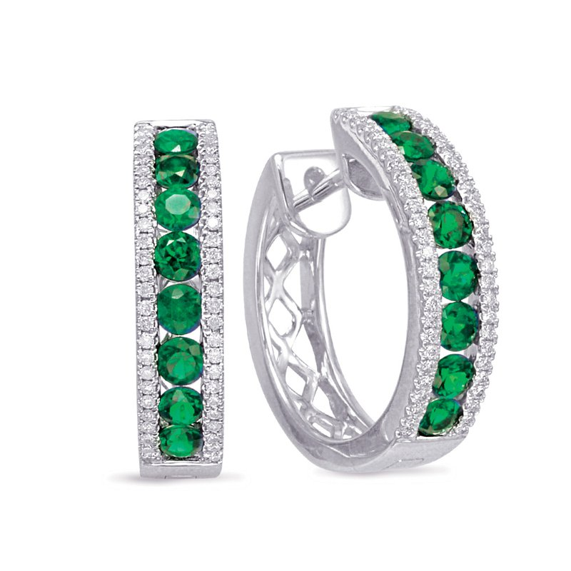 S. Kashi  & Sons White Gold Emerald & Diamond Earring