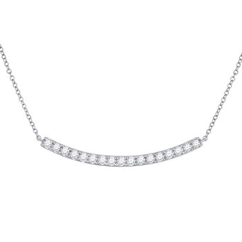 14kt White Gold Womens Round Diamond Curved Bar Pendant Necklace 3/4 Cttw