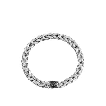 Asli Classic Chain Link 7MM Bracelet, Silver with Gemstone