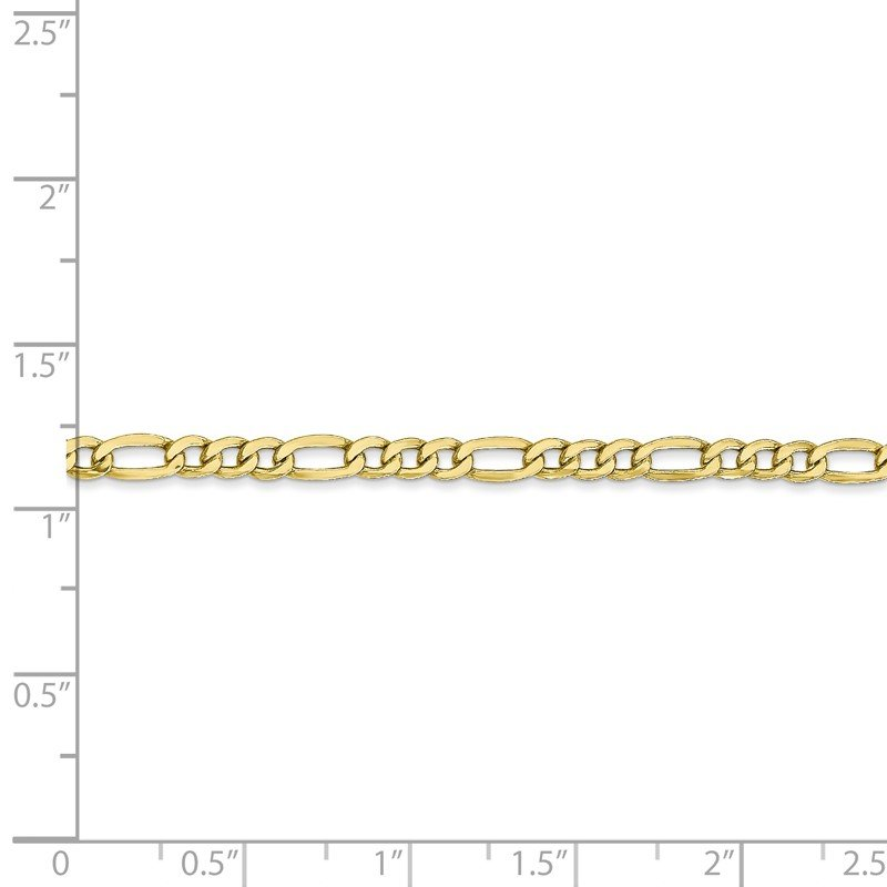 Quality Gold 10k 3.5mm Semi-Solid Figaro Chain