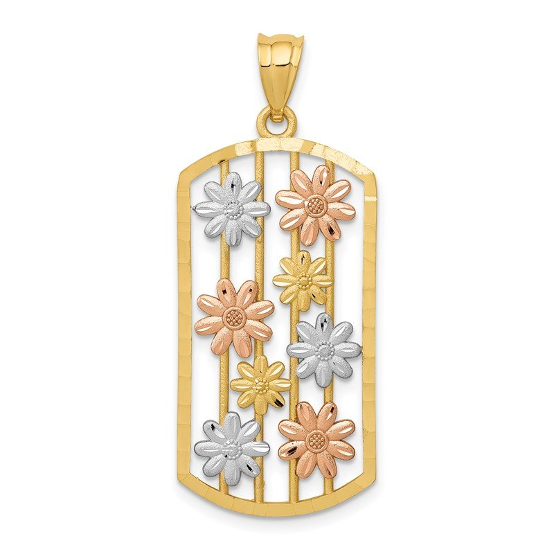 Quality Gold 14k Two-tone w/White Rhodium Framed Daisy Pendant