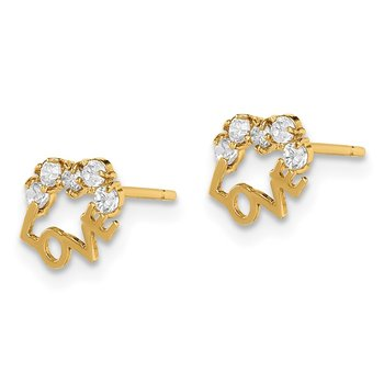 14k Madi K CZ LOVE Post Earrings