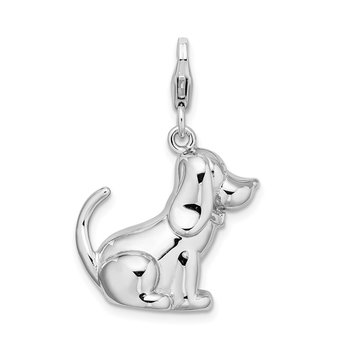 SS RH 3-D Polished & Enameled Dog w/Lobster Clasp Charm