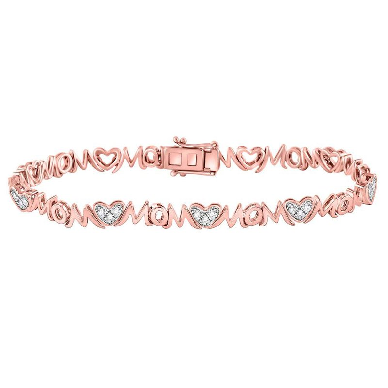 Kingdom Treasures Rose-tone Sterling Silver Womens Round Diamond Mom Mother Bracelet 1/6 Cttw