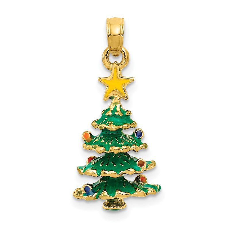 Quality Gold 14k 3D Enameled Christmas Tree Pendant