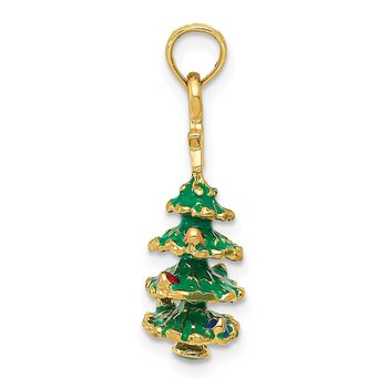 14k 3D Enameled Christmas Tree Pendant