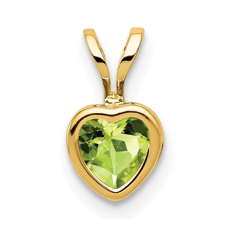 Quality Gold 14k 5mm Heart Peridot Bezel Pendant