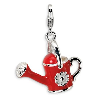 Sterling Silver 3-D Enameled Red Watering Can w/Lobster Clasp Charm