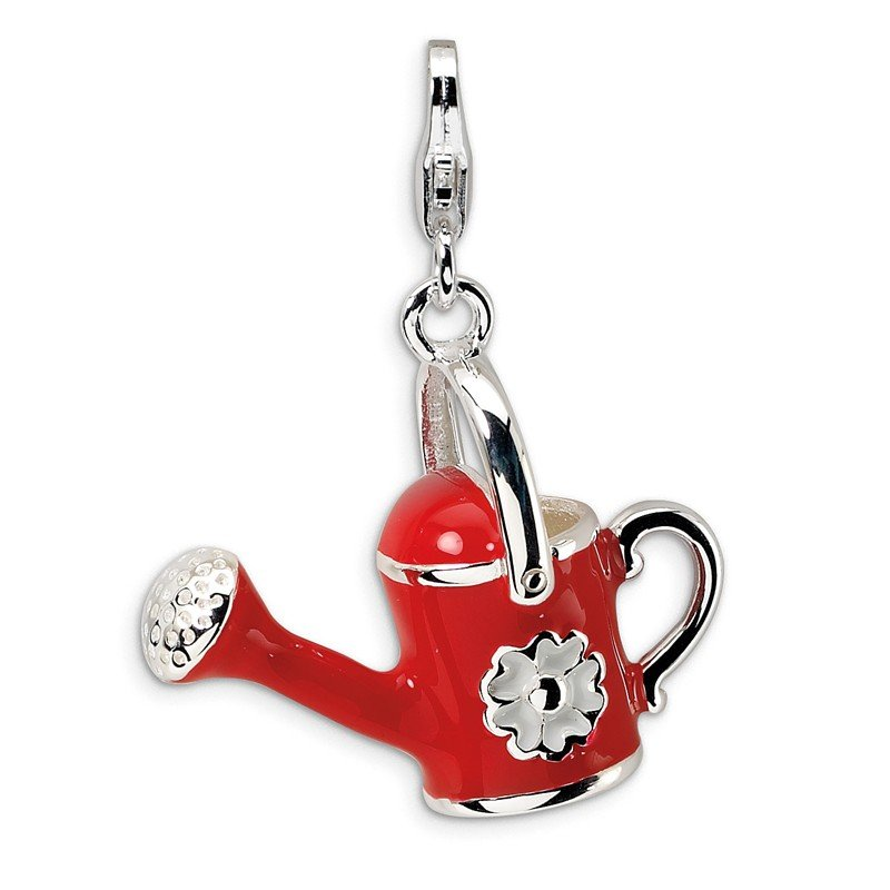 Quality Gold Sterling Silver Amore La Vita Rhod-pl 3-D Enameled Watering Can Charm