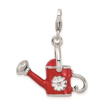 SS RH 3-D Enameled Red Watering Can w/Lobster Clasp Charm