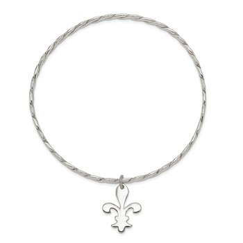 Sterling Silver Polished & Textured Fleur De Lis Bangle