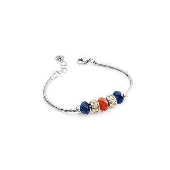 316L stainless steel, red agate, blue agate and metallic light gold Swarovski® Elements crystals.