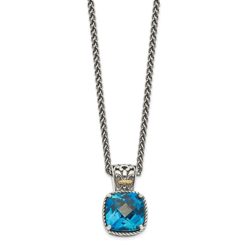 Arizona Diamond Center Collection Sterling Silver w/14k London Blue Topaz Necklace