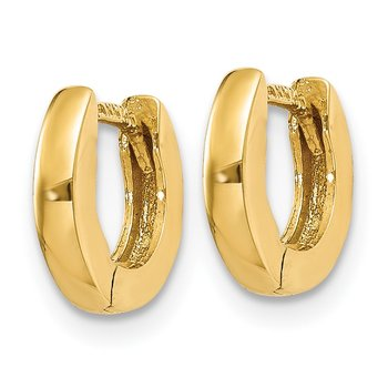 14k Polished Round Hinged Hoop Earrings
