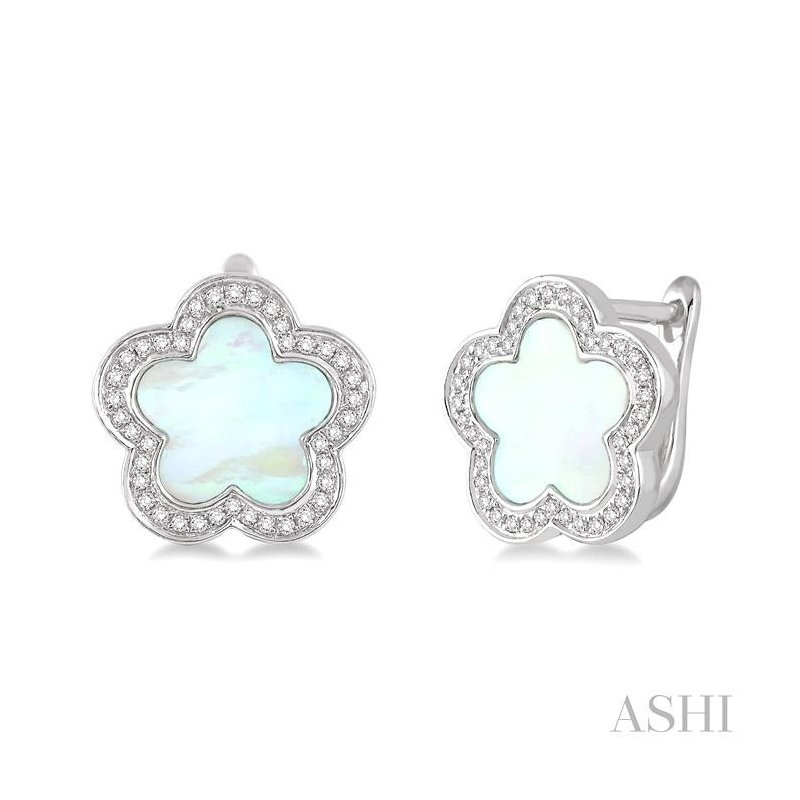 ASHI flower shape gemstone & diamond earrings