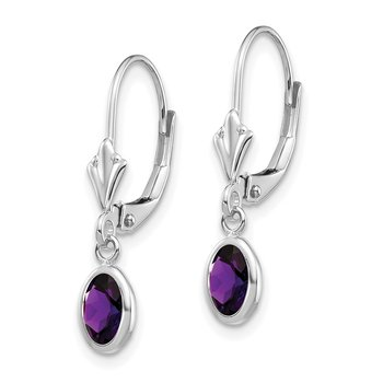 14k White Gold 6x4mm Oval Amethyst/February Earrings