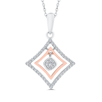 Round Diamond 10K Two-Tone Gold Kite Shape Pendant