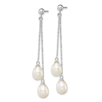 Sterling Silver Rhodium 7-8mm White FWC Pearl Post Dangle Earrings