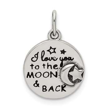 Sterling Silver Enamel Love you to the Moon & Back Charm Pendant