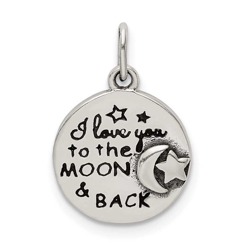 Quality Gold Sterling Silver Enamel Love you to the Moon & Back Charm Pendant
