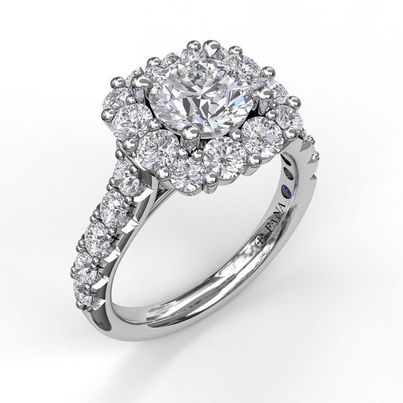 Fana Large Diamond Cushion Halo Engagement Ring