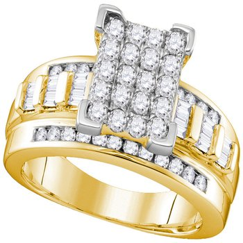 10kt Yellow Gold Womens Round Diamond Elevated Rectangle Cluster Bridal Wedding Engagement Ring 1.00 Cttw - Size 6