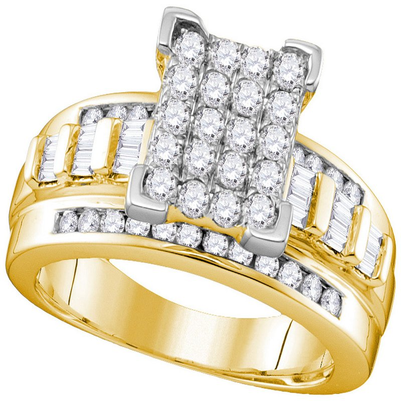 Kingdom Treasures 10kt Yellow Gold Womens Round Diamond Elevated Rectangle Cluster Bridal Wedding Engagement Ring 1.00 Cttw - Size 6