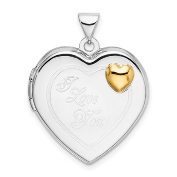 Sterling Silver Rhodium & Gold-plated 21mm I Love You Heart Locket
