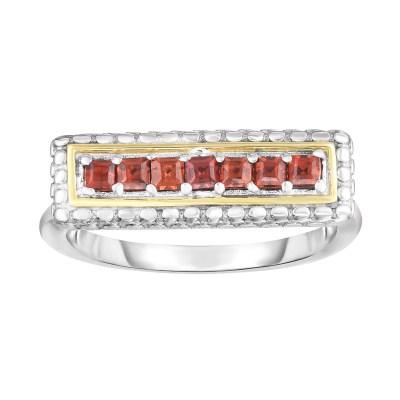 Royal Chain Sterling Silver & 18K Gold Bar Ring