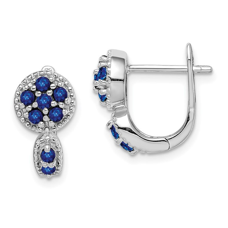 Quality Gold Sterling Silver Rhodium-plated with Sapphire Circle Hinged Earrings