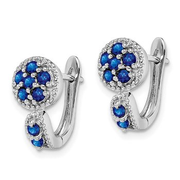 Sterling Silver Rhodium-plated with Sapphire Circle Hinged Earrings