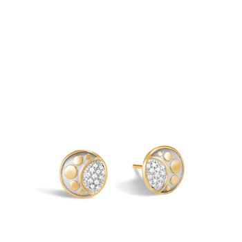 Dot Moon Phase 11MM Stud Earring in 18K Gold with Diamonds