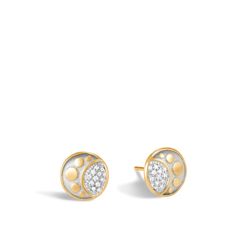 JOHN HARDY Dot Moon Phase Stud Earring in 18K Gold with Diamonds