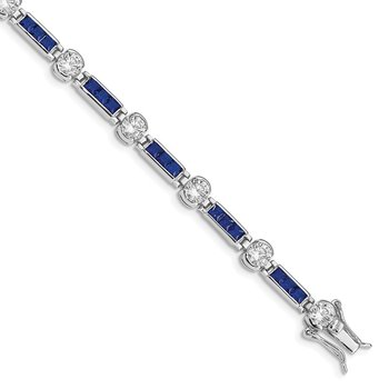 Sterling Silver Rhodium-plated Blue Glass and White CZ 7.25inch Bracelet