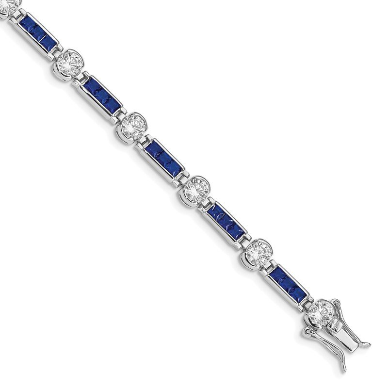 Quality Gold Sterling Silver Rhodium-plated Blue Glass and White CZ 7.25inch Bracelet