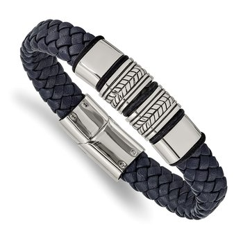 Stainless Steel Antiqued & Polished Blue Leather w/Silicone 8.25in Bracelet