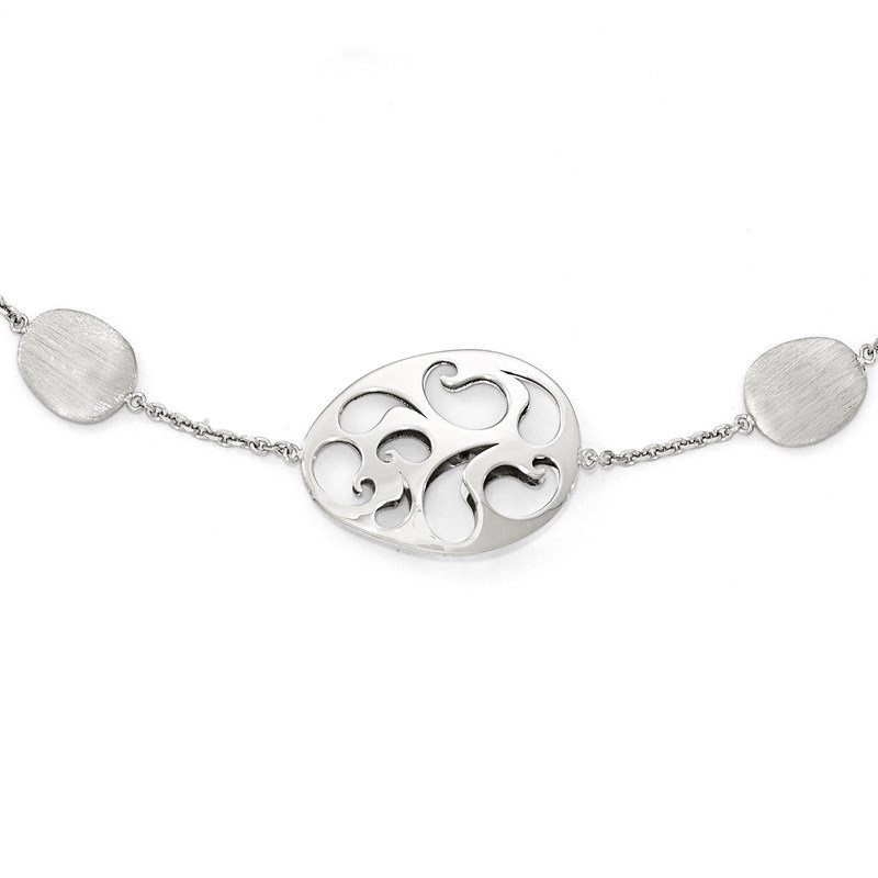 Leslie's Leslie's 14k White Gold Polished and Brushed w/2in ext. Necklace
