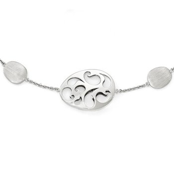 Leslie's 14k White Gold Polished and Brushed w/2in ext. Necklace