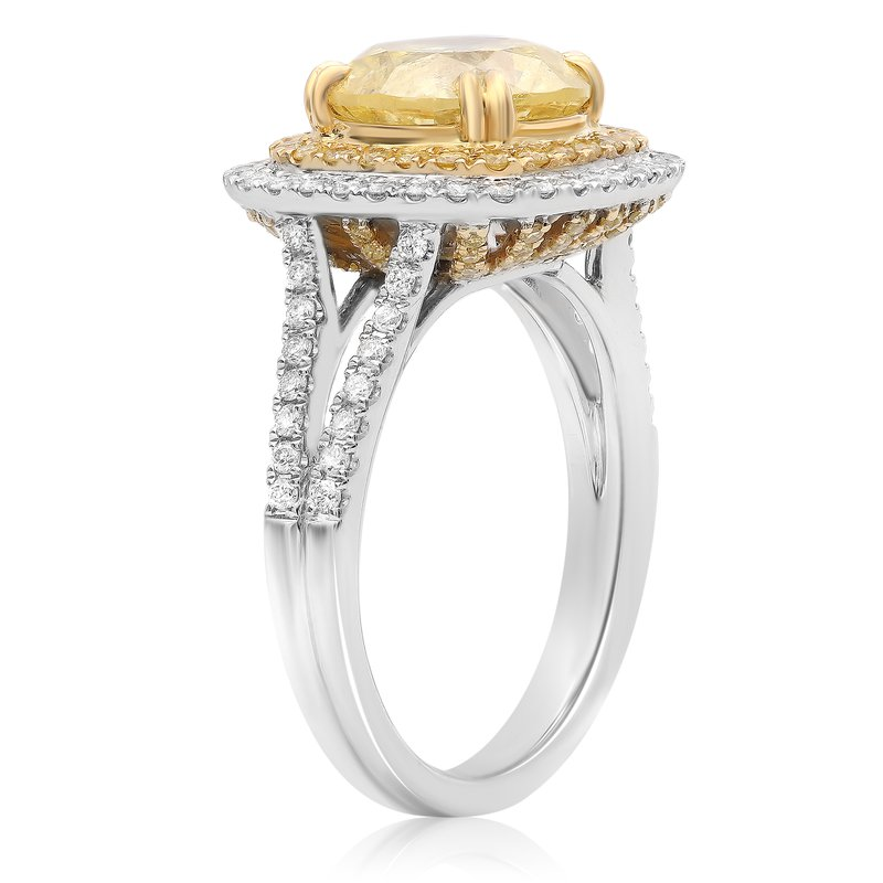 Roman & Jules Round Cut Yellow Diamond Ring