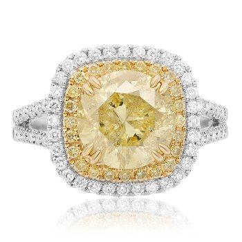 Round Cut Yellow Diamond Ring