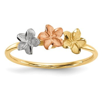 14k Two-tone w/White Rhodium Polished and Satin 3 Flower Ring