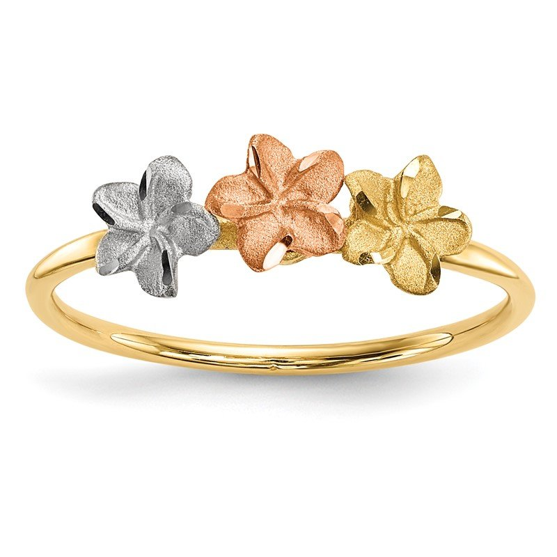 Quality Gold 14k Two-tone w/White Rhodium Polished and Satin 3 Flower Ring