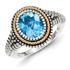 Shey Couture Sterling Silver w/14k Blue Topaz Ring