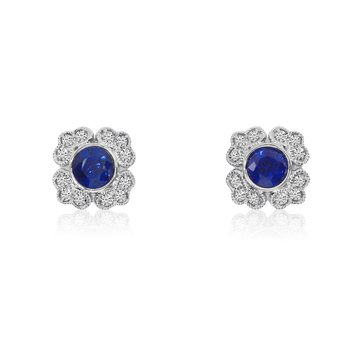 14K White Gold Filigree Round Sapphire and Diamond Earrings