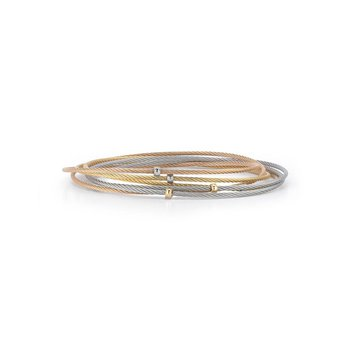 Yellow, Rose, & Grey Cable 6 Row Slide Over Bangle with 18kt Yellow Gold