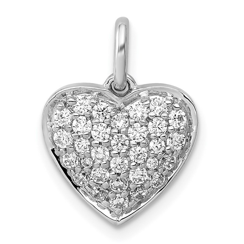 Quality Gold 14k White Gold 1/2ct. Diamond Heart Pendant