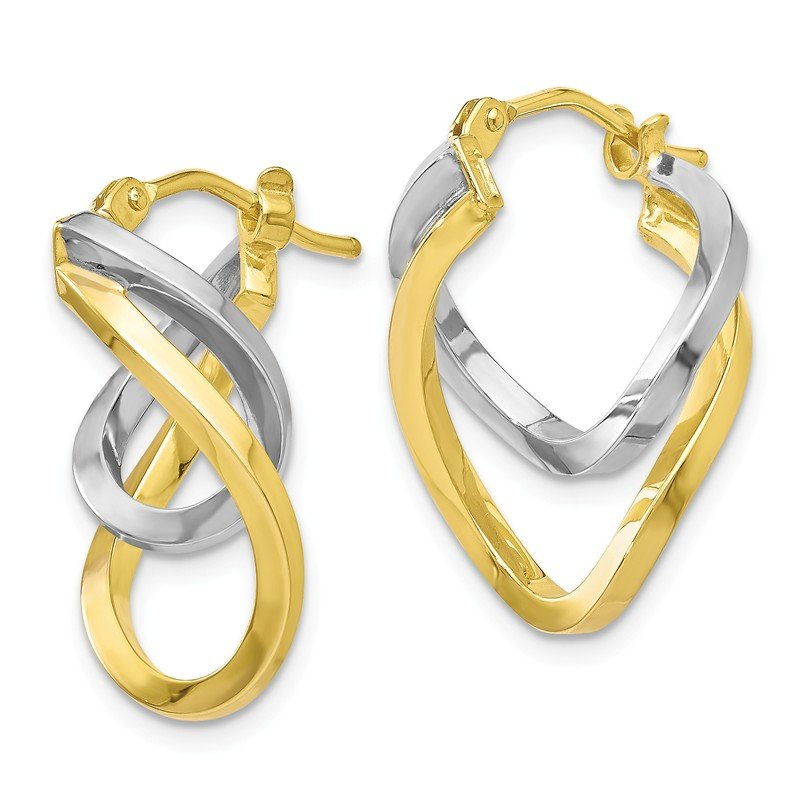 Leslie's Leslie's 10K Two-tone Polished Twisted Hoop Earrings