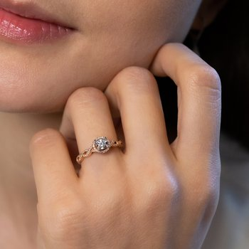 Halo Diamond Accent Engagement Ring with Pave Diamonds