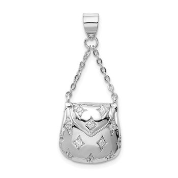 Sterling Silver Rhodium-plated CZ Handbag Pendant